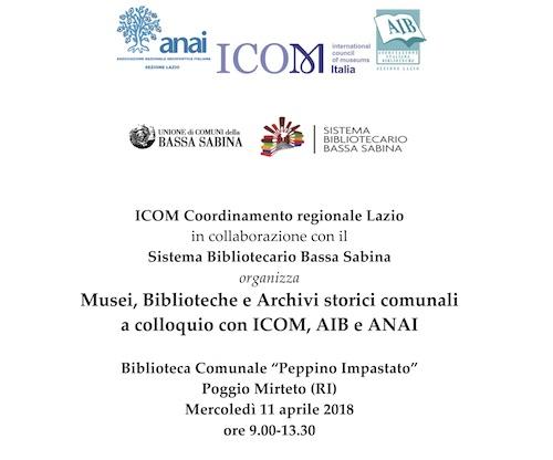 Musei, Biblioteche e Archivi storici comunali a colloquio con ICOM, AIB e ANAI